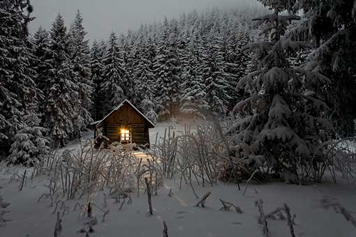 Casa en un bosque nevado